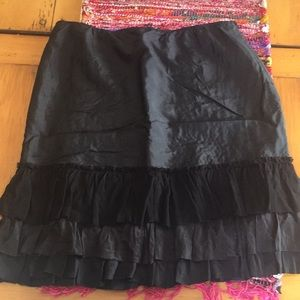 Eileen Fisher M Black Silk Ruffle Skirt